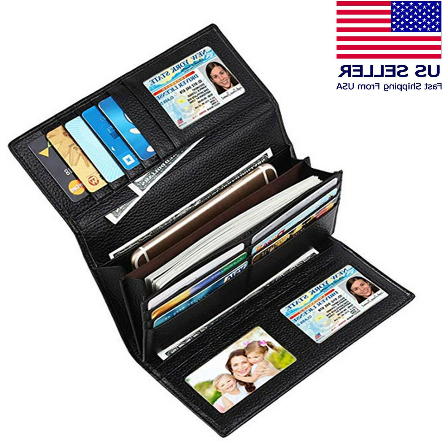 trifold wallets for women genuine leather rfid
