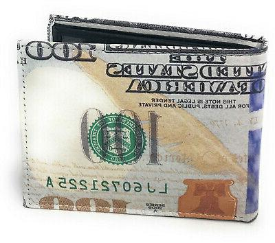 USA $100 One Hundred Dollar Bill Leather Wallet
