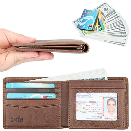 Wallet for Men-Genuine Leather RFID Blocking Wallet Window