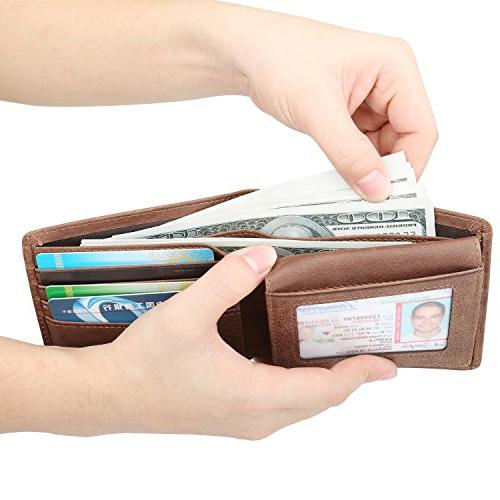 Wallet for Men-Genuine RFID Blocking Wallet Window