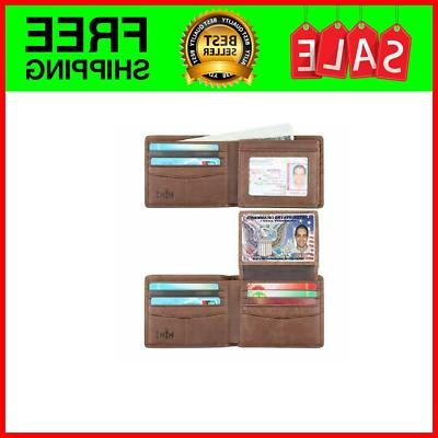 wallet for men genuine leather rfid blocking