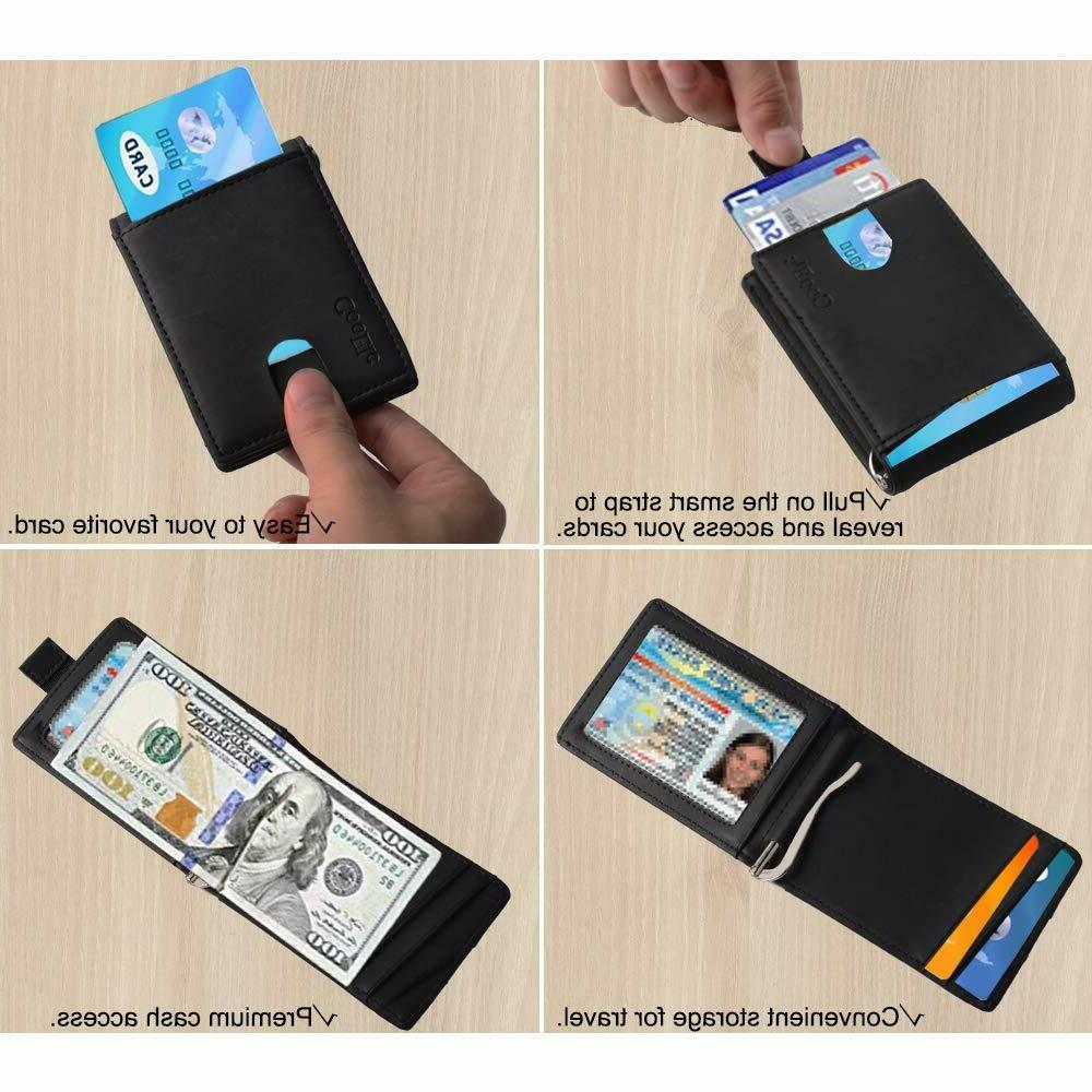 CooElc Genuine Leather RFID Blocking Bifold w Money Clip