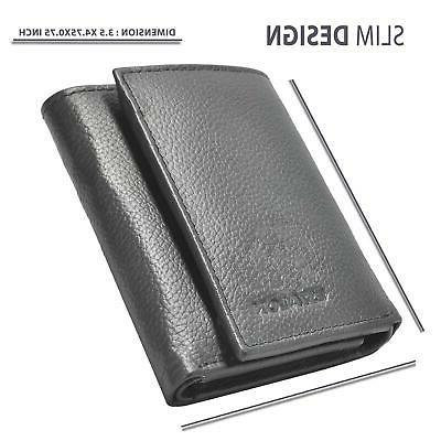 Wallets Men Leather Small Front Trifold
