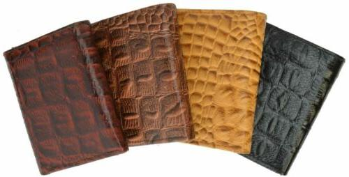 Wallets Mens Trifold Crocodile Embossed Credit ID Leather Black Wallet