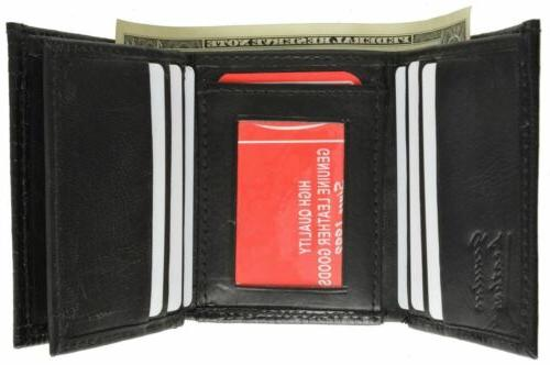 Wallets Embossed Card ID Leather Black