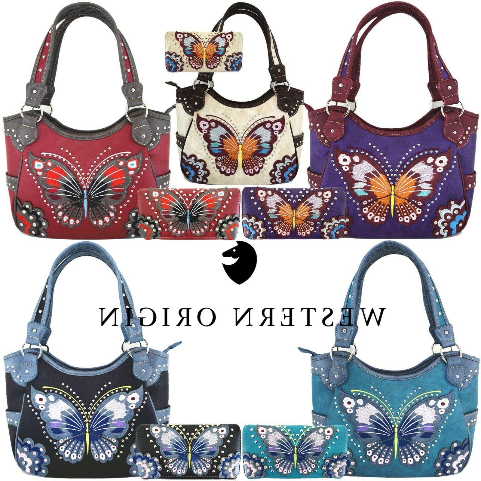 western style butterfly handbag concealed carry purse