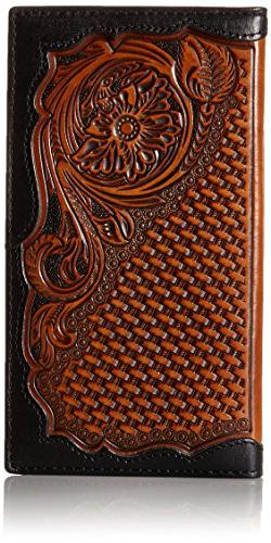 Ariat Western Wallet Mens Rodeo Embossed Floral Black Tan A3