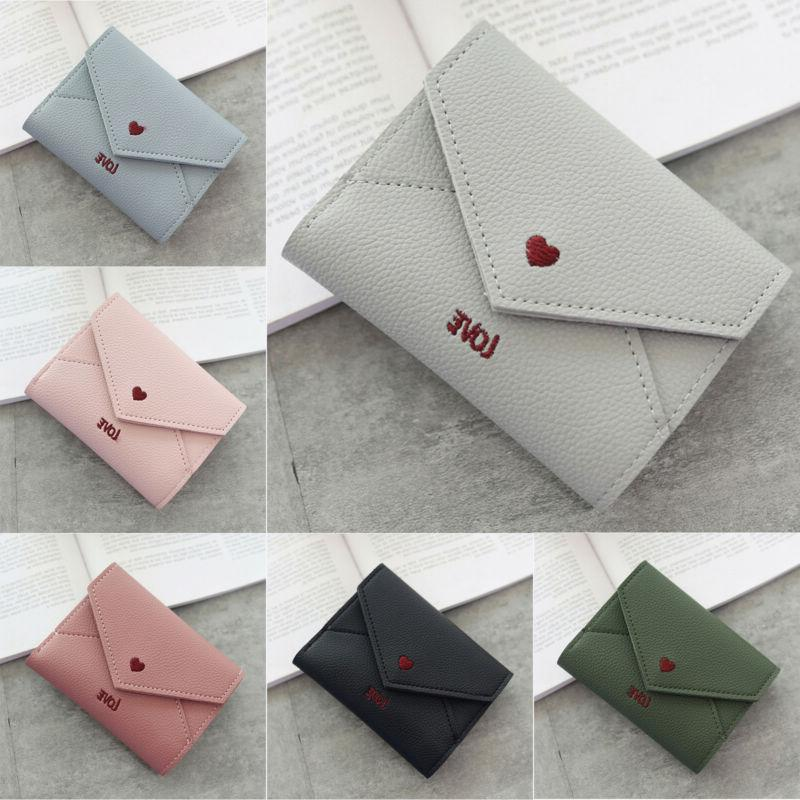 women girl leather wallet card holder coin