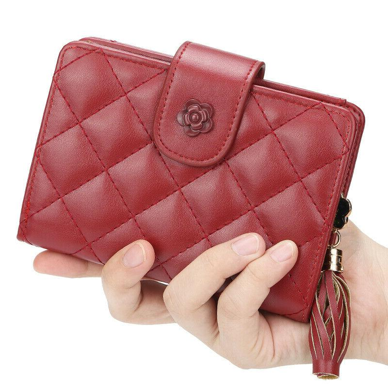 Women Ladies Leather Wallets Small Bifold With Zipper Coin US