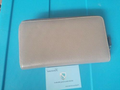 Lavemi Women's Leather Zip Wallet Clutch Travel Credit Cards