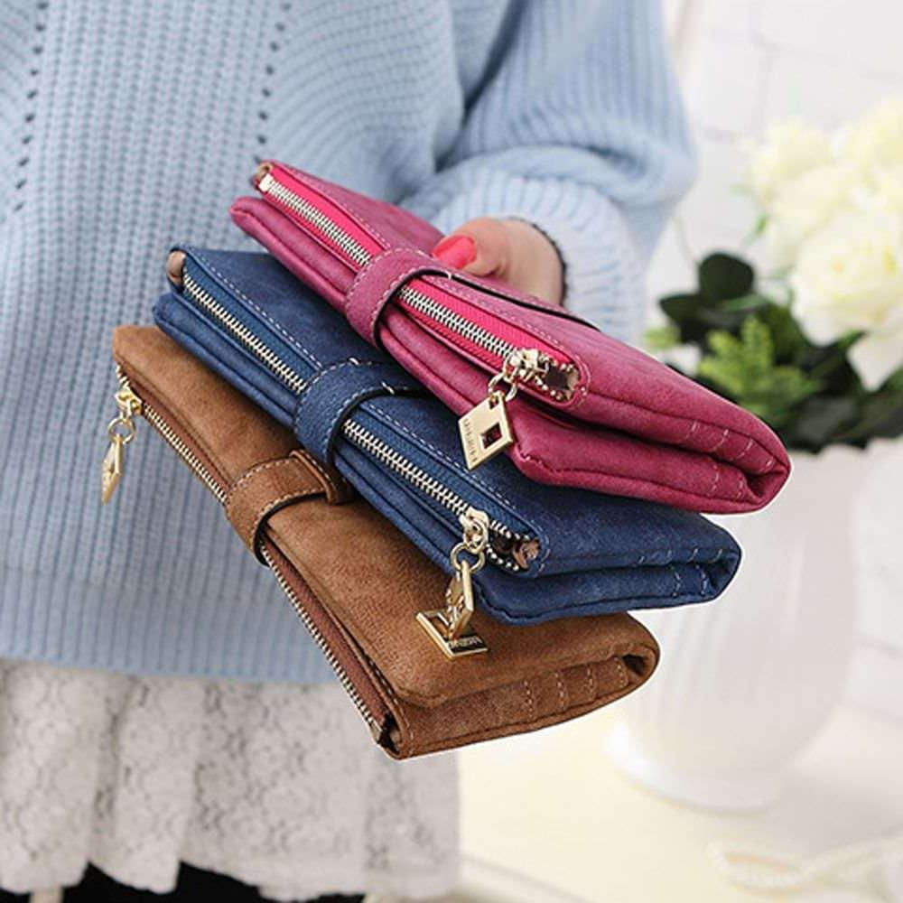 Womens Suede Leather Clutch Card Holder US