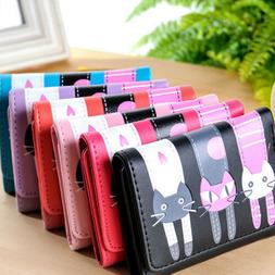 Lady Mini Wallets PU Leather Cat Coin Purse Card Holder For
