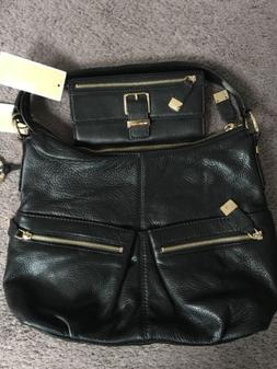 Michael Kors Layton Soft Black Leather Bag With gold zippers