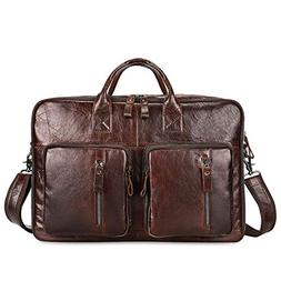 Kattee Leather Briefcase for Men, 15.6 inch Laptop Satchel M
