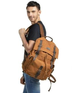 Kattee Men's Leather Canvas Backpack Large School Bag Trav