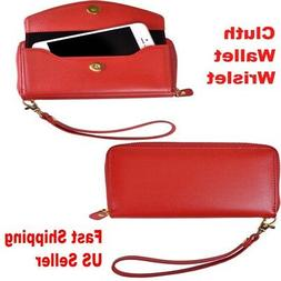 Leather Clutch Wallet with Phone Holder & Wrist Strap Valent
