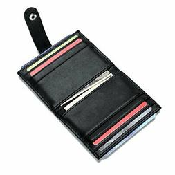 Leather Credit Card Holder 16 Slots Bifold Front Pocket Wall