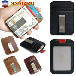 Leather Mini Men Slim Soft Pocket Wallet With Money Clip RFI