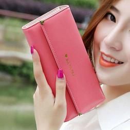 Women Leather Wallets Ladies Trifold Clutch Checkbook Card H