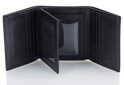 leather trifold rfid wallet for men