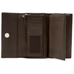 Leather Trifold Wallet For Women's With Removable Checkbook
