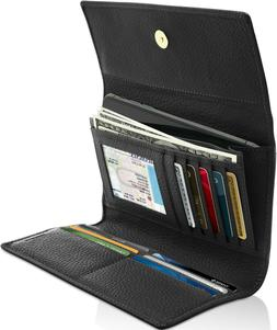 Leather Trifold Wallet For Women With Removable Checkbook Ho