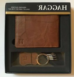 Haggar Leather Wallet and Key Fob Set Men's Brown New in Box