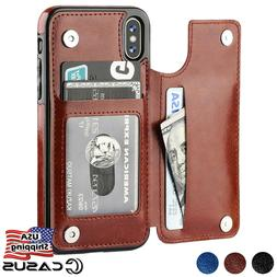 Leather Wallet Magnetic Flip Cover Thin Slim Case For iPhone