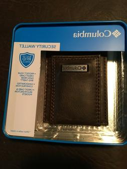 Columbia leather wallet, RFID shield, new in case.