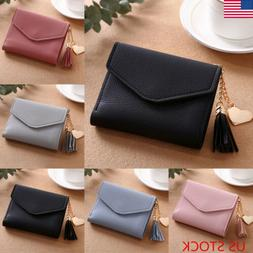 leather wallets trifold womens solid cute wallet