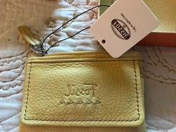 Fossil Leather Zip Coin Wallet, ID Case, Key Ring, Yellow, 4