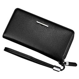 MooMax Leather Zipper Business Wallet Business Large Capacit