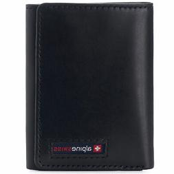 Alpine Swiss Leon Mens RFID Protected Trifold Genuine Leathe