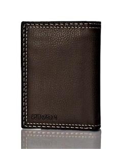 Levi's Men's Trifold Leather Wallet With Interior Zipper