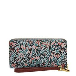Fossil Logan RFID Zip Around Clutch Blue Floral