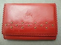 M+K Genuine Leather Wallet Coin Purse Red  Woman's