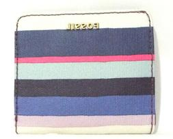 Fossil Madison Bifold Mini Leather Wallet Navy Blue Multi St
