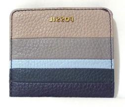 Fossil Madison Bifold Mini Wallet Blue Stripe Leather