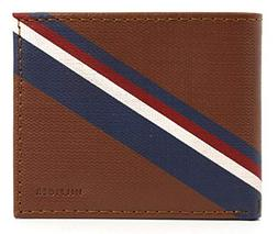 New Tommy Hilfiger Men's Brown Tan Leather Double Billfold C