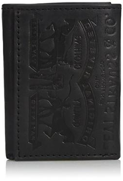 LEVI'S MEN'S EMBOSSED 2 HORSE LOGO COATED LEATHER TRIFOLD WA