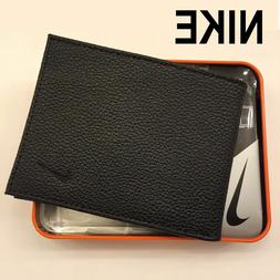 NIKE-MEN-GENUINE-BLACK-BIFOLD-PASSCASE-ID-FLIP-LEATHER-WALLE