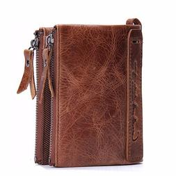 Contacts Men Wallet Minimalist Vintage Cowhide Leather Walle