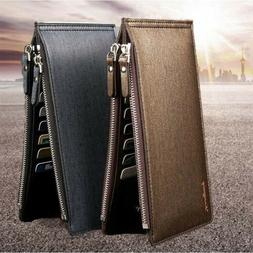 Men Leather Slim Pocket Zipper Long Wallet ID Credit Card Ho
