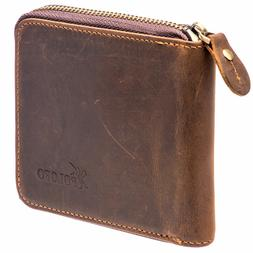 POLOFO Men Leather Zip Around Wallet ID Card Window Secure Z