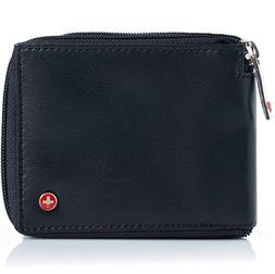 alpine swiss Men's Leather Zip Around Wallet ID Card Secure