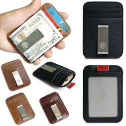 Men Mini Slim Leather RFID Blocking Wallets ID Card Cases Ho