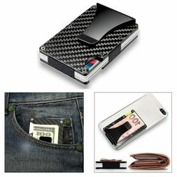 Men Money Clip Slim Credit Card Holder Leather Front Pocket