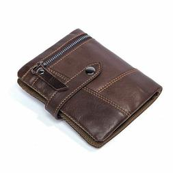 Men Real Leather Coin Trifold Wallet Billfold Card Cash Hold