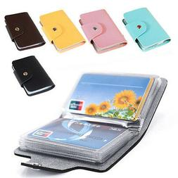 Men's 24 Cards Slim PU Leather ID Credit Card Holder Pocket