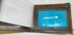 Columbia Men's Bi-Fold wallet NEW brown leather coated card